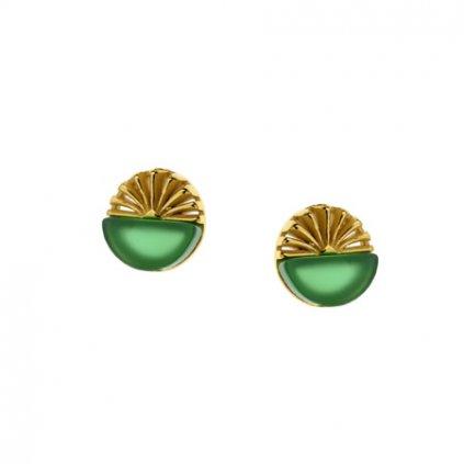 náušnice zelený achát