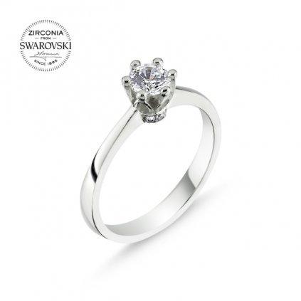 Stříbrný zásnubní prsten Swarovski - velký čirý zirkon