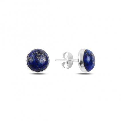 Stříbrné naušnice planeta - modré, lapis lazuli