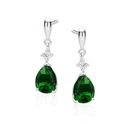 Luxusní smaragdové slzičky zirkony