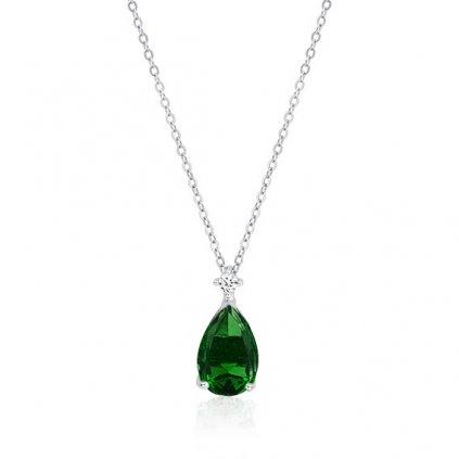 Luxusní smaragdový náhrdelník slza
