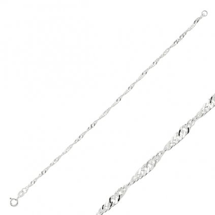 Stříbrný kroucený řetízek - 40 cm