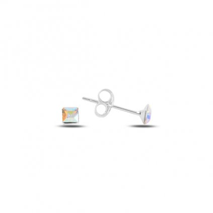 Stříbrné náušnice čtverec 3 mm