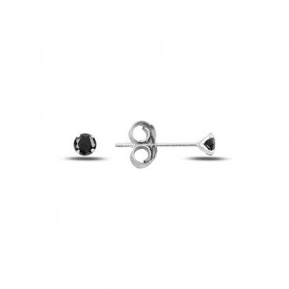Stříbrné kulaté náušnice 3mm - černá