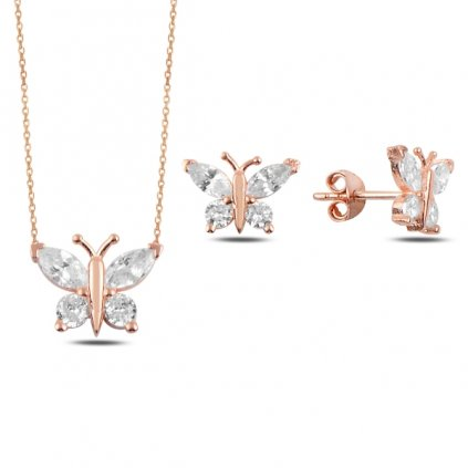 Stříbrná sada Motýlci náhrdelník, náušnice