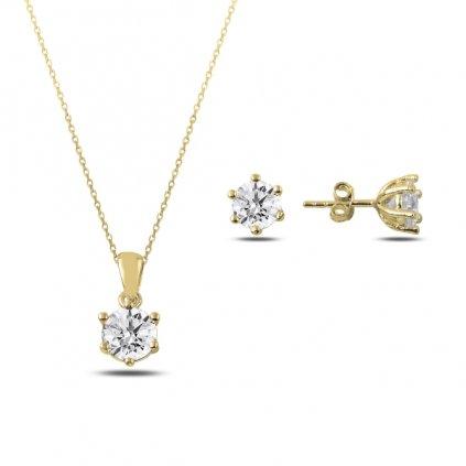 Pozlacená sada šperků - náušnice, náhrdelník