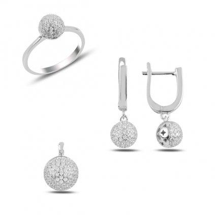 Luxusní stříbrná sada šperků kuličky