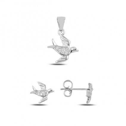 Luxusní stříbrná sada - ptáčci