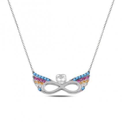 Stříbrný náhrdelník andělské nekonečno