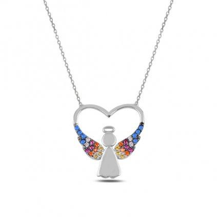 Stříbrný náhrdelník - anděl v srdci