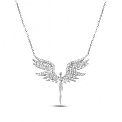 Stříbrný náhrdelník velký anděl