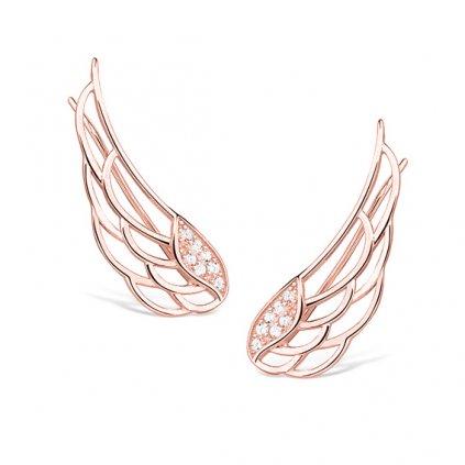 Stříbrné náušnice - andělská křídla v růžovém pozlacení