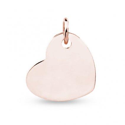 Stříbrný přívěsek srdce - destička - růžové zlacení