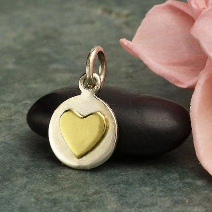 Stříbrný malý disk s bronzovým srdcem1