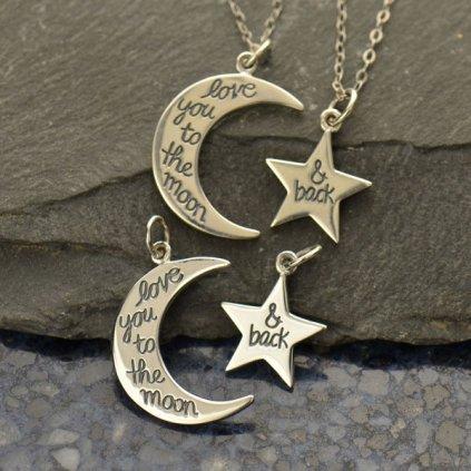 Sada stříbrných přívěsků Měsíc a hvězda