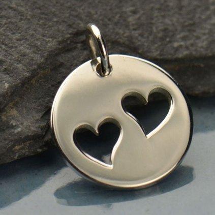 Stříbrný přívěsek dvě srdce