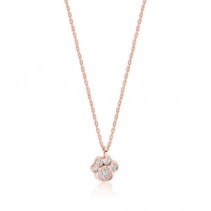 Stříbrný náhrdelník s tlapkou růžové zlacení