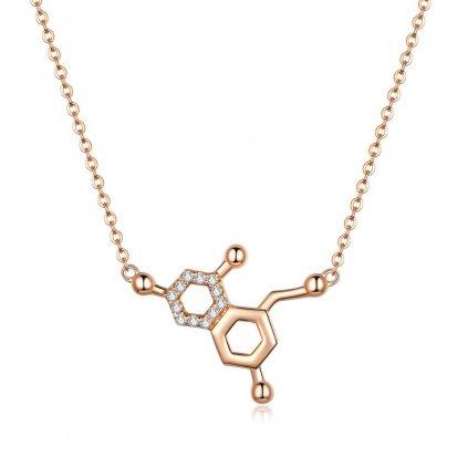 Pozlacený náhrdelník molekuly zirkon