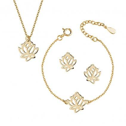 Sada šperků z pozlaceného stříbra lotos