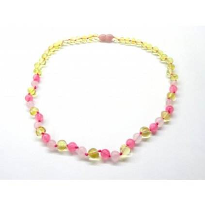 Jantarový náhrdelník s růženínem a jadeitem 45 cm