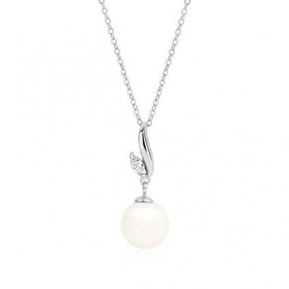 Stříbrný náhrdelník perla s čirým zirkonem