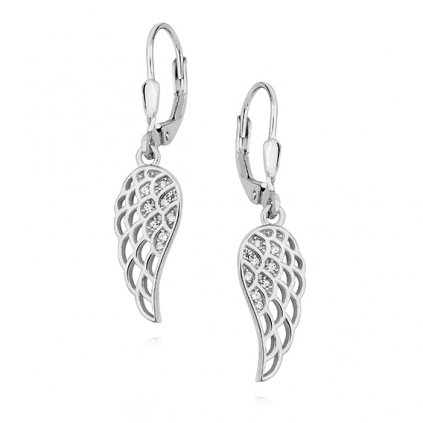 Stříbrné náušnice křídla s čirým zirkonem