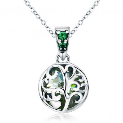 Stříbrný náhrdelník strom života se zelenými zirkony