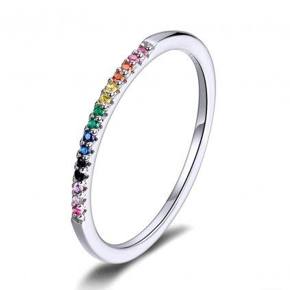 duhový stříbrný prsten