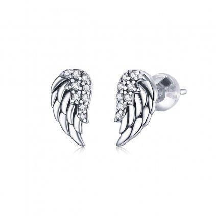 náušnice stříbrná křídla