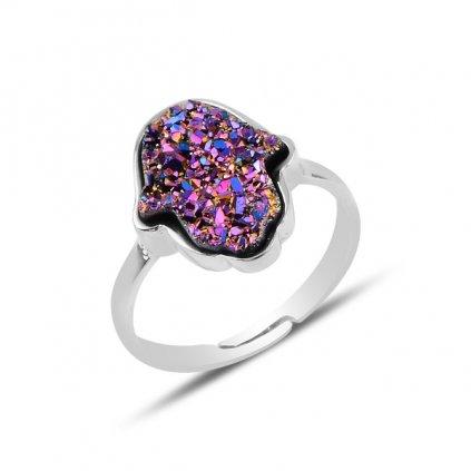 fialový prsten hamsa drůza