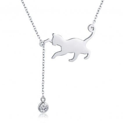 stříbrný řetízek s kočkou