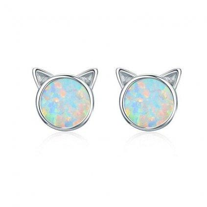 Stříbrné opálové náušnice kočka
