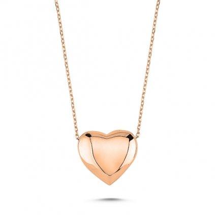 Stříbrný klenutý srdcový náhrdelník - růžové zlacení