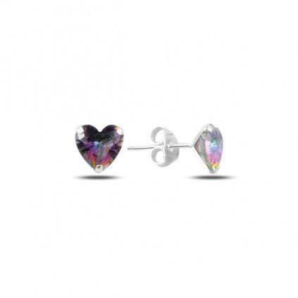 Stříbrné náušnice duhové srdce 8 mm