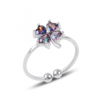 Stříbrný prsten Čtyřlístek nastavitelná velikost