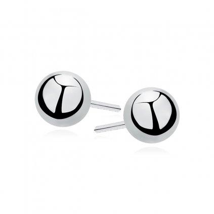 Stříbrné náušnice menší vysoce leštěné kuličky