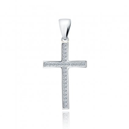 Stříbrný přívěsek křížek se zirkony
