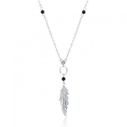 Stříbrný náhrdelník s černými trny a zirkonem pírko