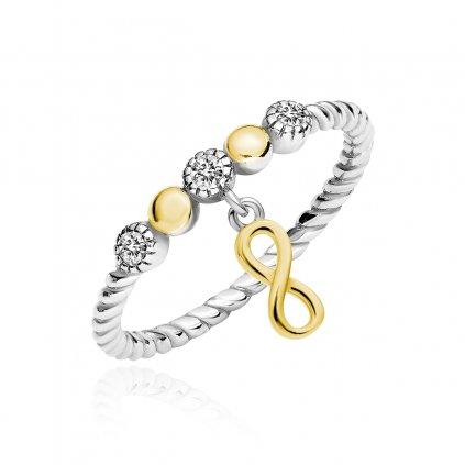 Stříbrný pletený prsten s pozlaceným nekonečnem a bílými zirkony