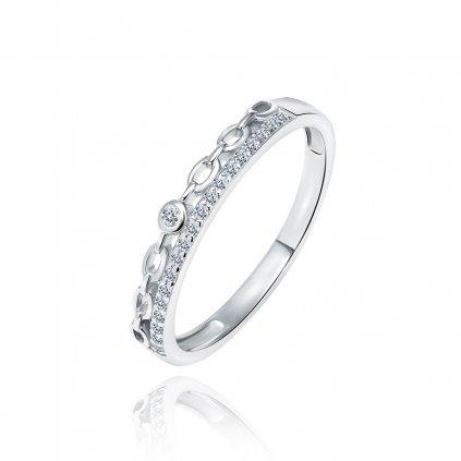 Stříbrný prsten s drobným řetízkem zirkony