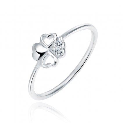 Stříbrný prsten Čtyřlístek zirkony