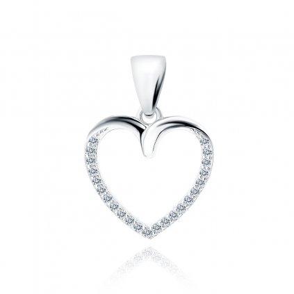 Stříbrný přívěsek srdce zirkony