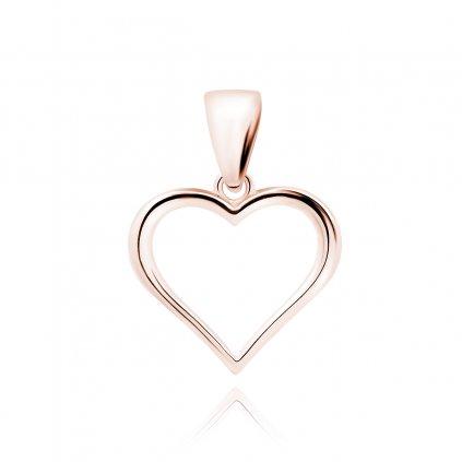 Stříbrný přívěsek srdce hladké růžové zlacení