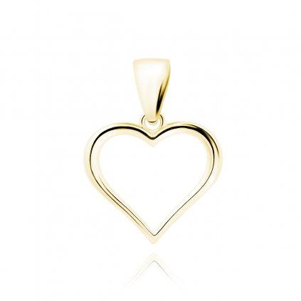 Stříbrný pozlacený přívěsek srdce hladké