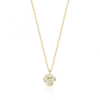 stříbrný náhrdelník s tlapkou zlacený