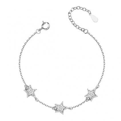 stříbrný náramek s hvězdami