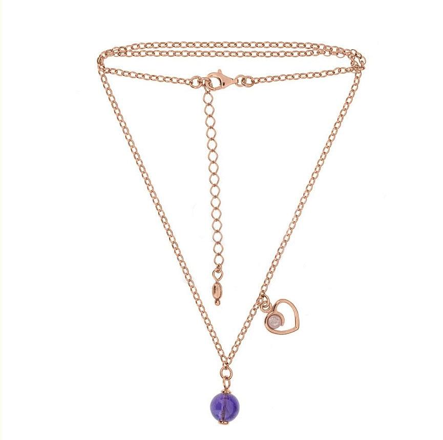 Pozlacený náhrdelník s ametyst a růženín