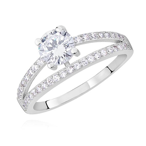 Levně Stříbrný prsten s bílým zirkonem