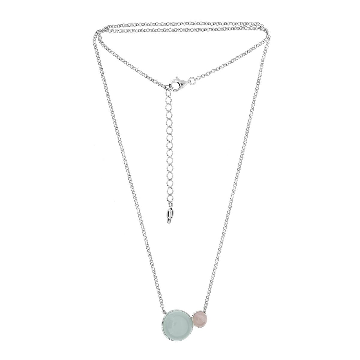 Stříbrný náhrdelník achát a růženín