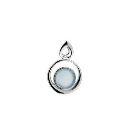 Drobný stříbrný přívěsek s modrým achátem